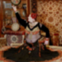 Sarah SK Belly Dancer with Turkish Persian Middle Eastern Oriental Rugs