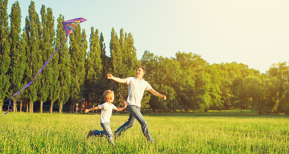 Dad And Son Child Flying A Kite In Summer Nature.jpg