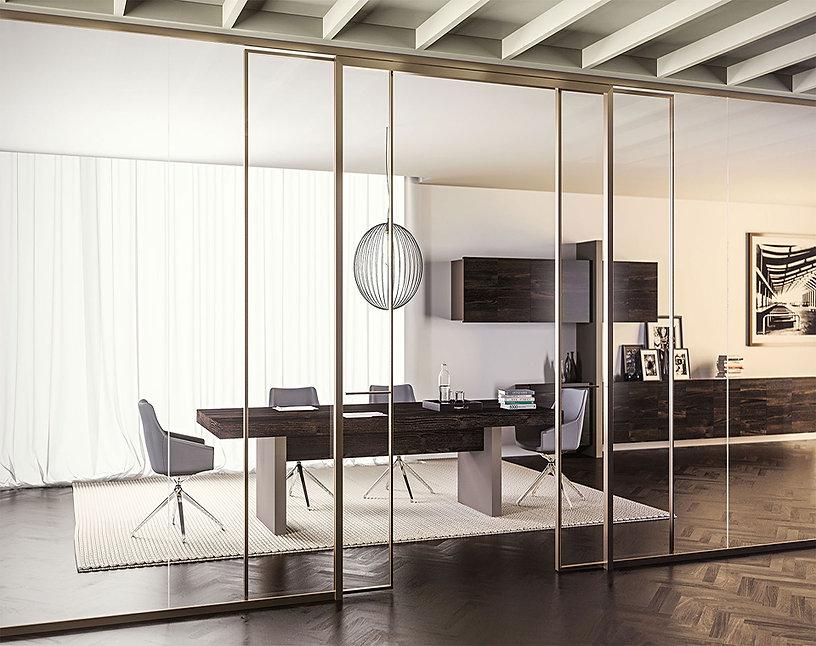 arredo ufficio-mobiliario oficina-office furniture-pareti divisorie-crystall wall-paredes cristal-madein italy