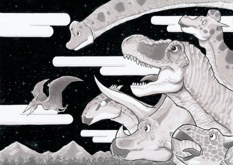 恐竜イメージイラスト「夜空と恐竜」