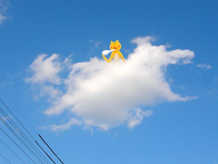 雲にのって雲を食べるくまさん