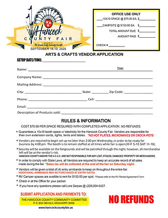 2019 ARTS AND CRAFT VENDOR APPLICATION.j