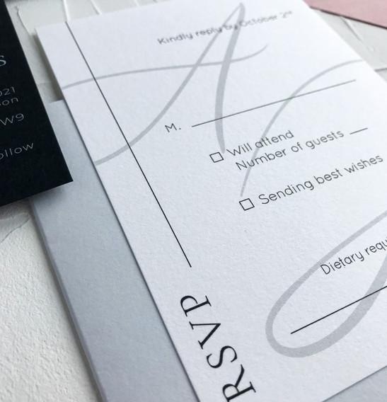 RSVP card - Minimal semi custom collection