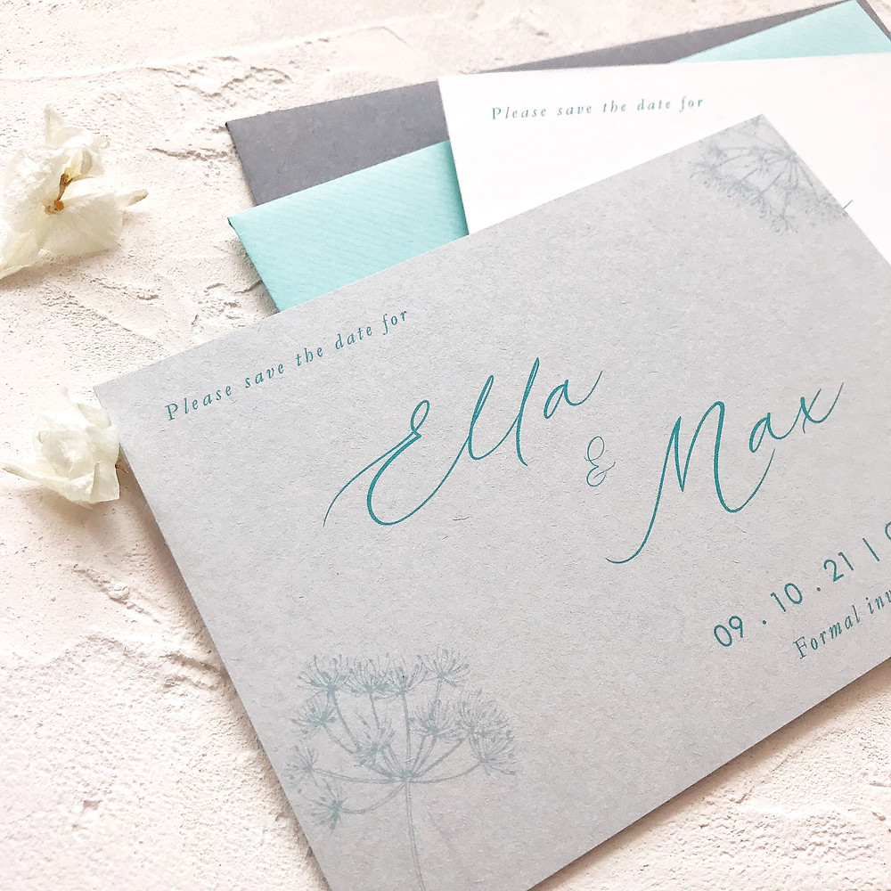 Save the date cards - modern wedding stationery with calligraphy and botanical details