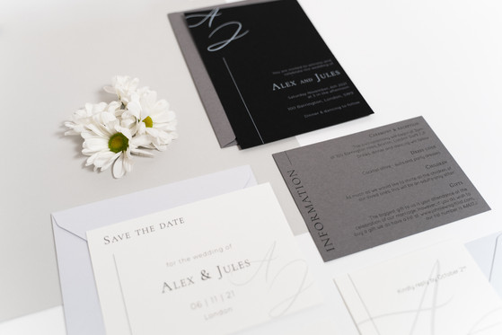 Minimalist wedding stationery suite for the design led couple with a calligraphy monogram and expressive typography