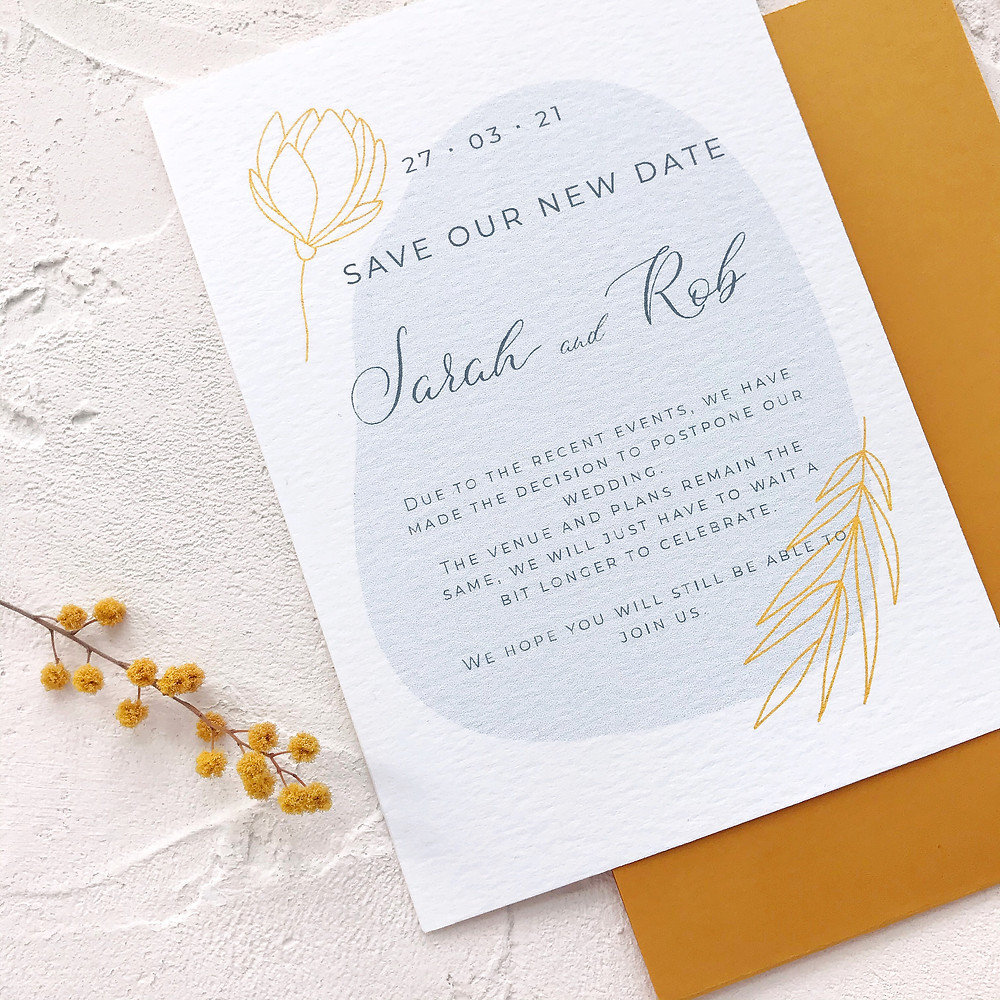 Save our new date card - modern wedding stationery with botanical and calligraphy details
