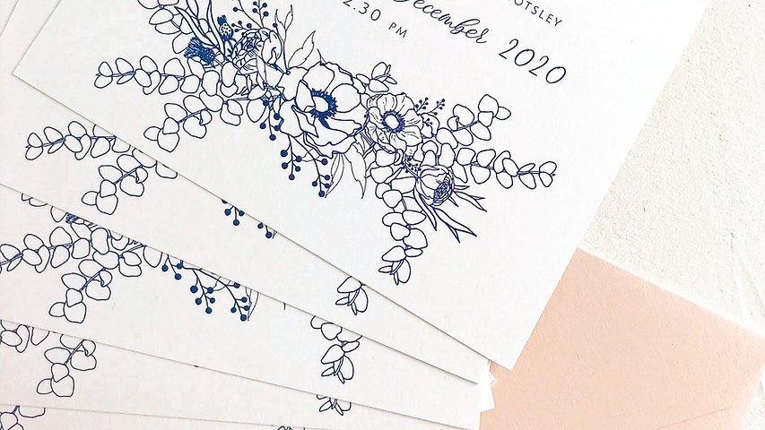 Navy blue floral illustrations for an order of service card