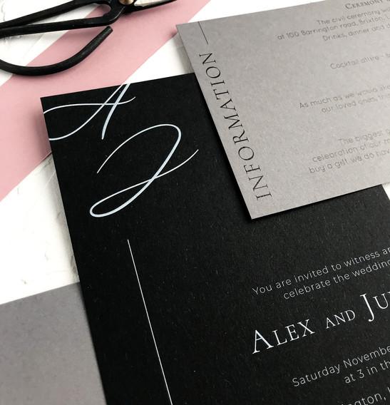 Black invitation - Minimal semi custom collection