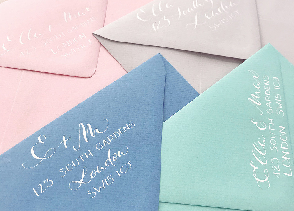 Return address in calligraphy on wedding envelopes