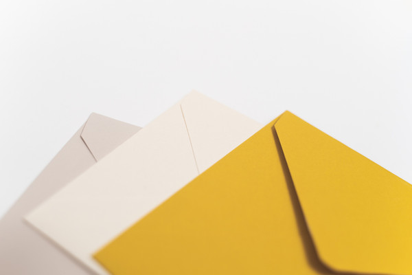 wedding envelopes, blush, cream and yellow