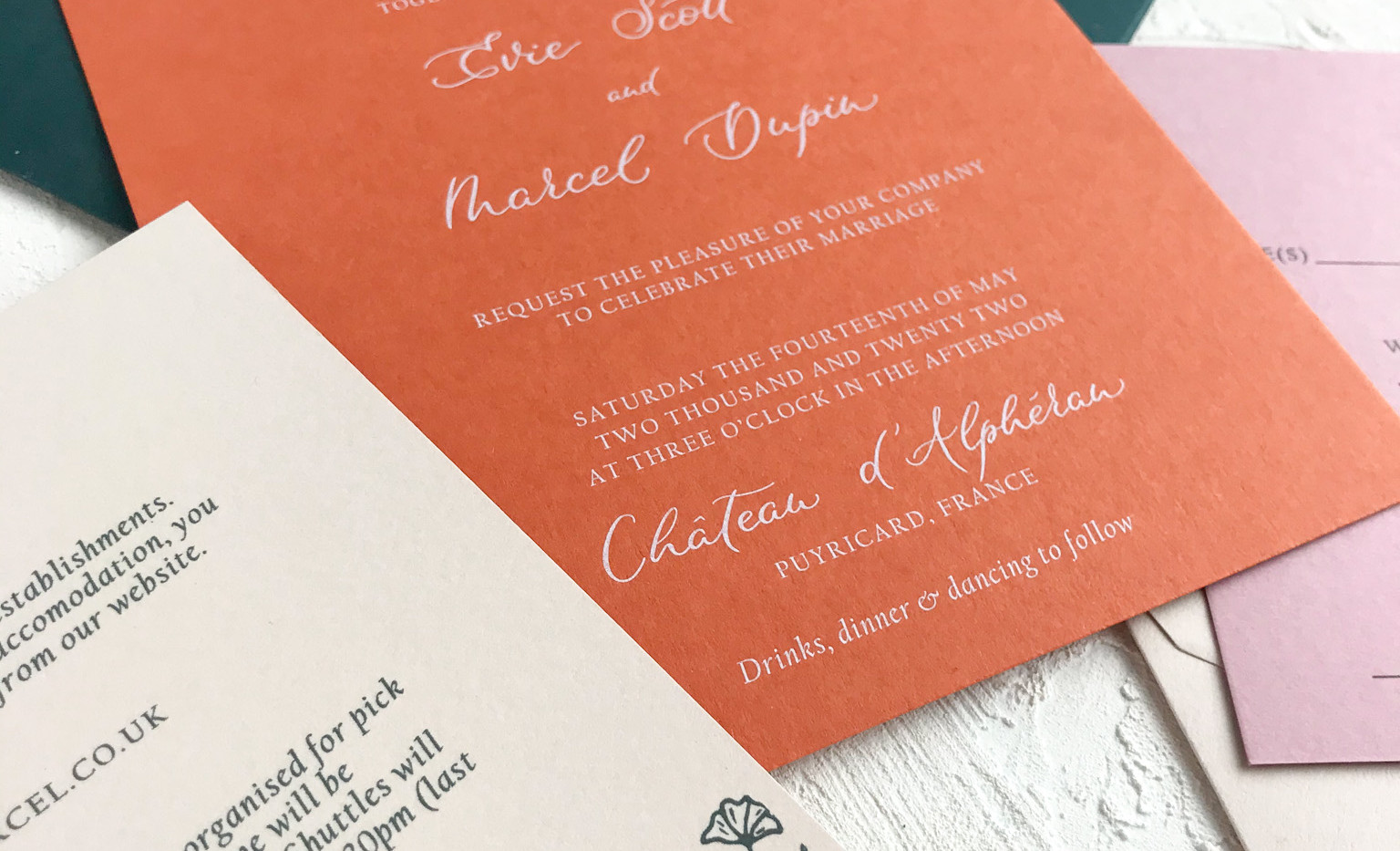 Invite and details cards. Provence Semi Custom collection