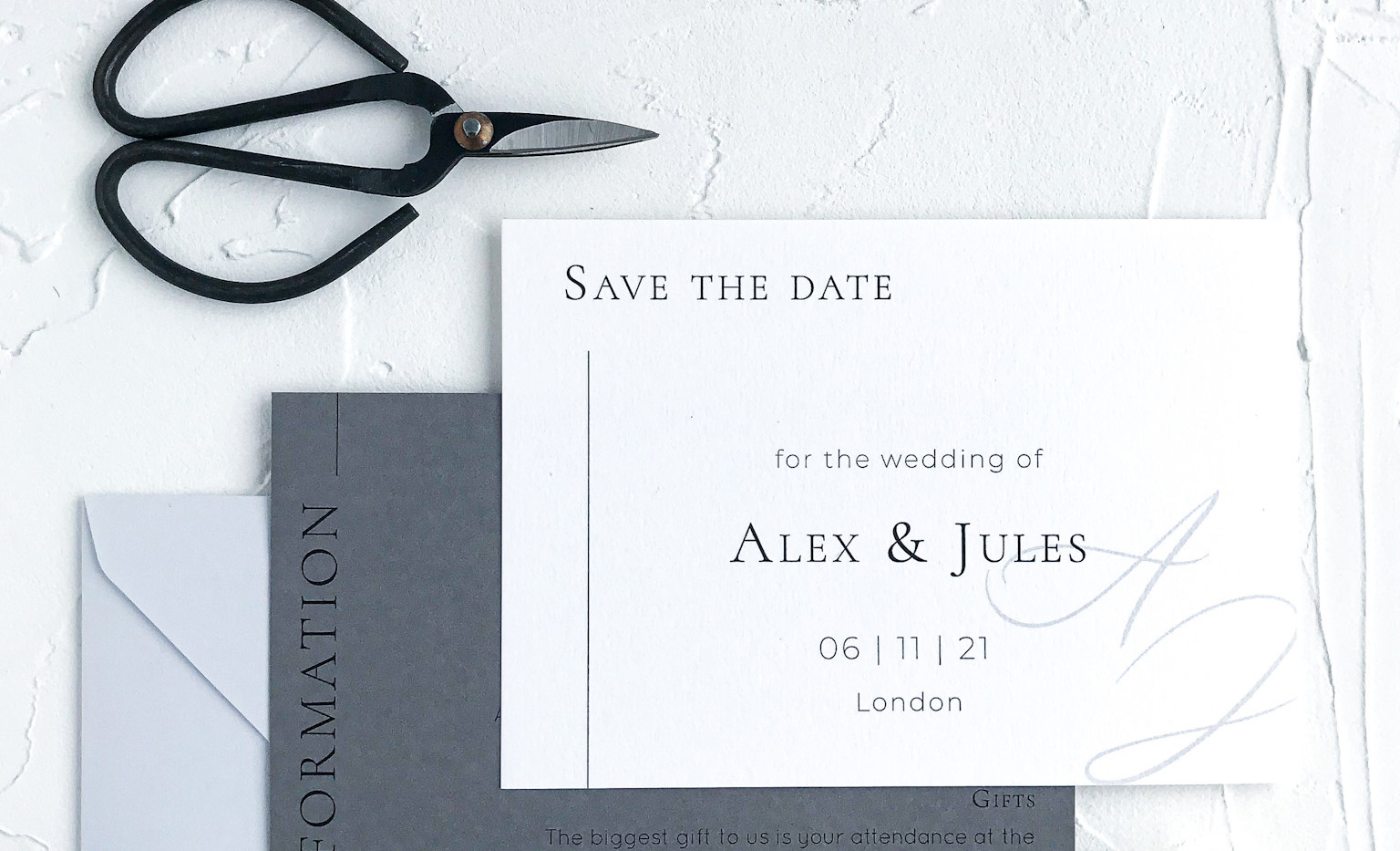 Save the date card - minimal semi custom collection