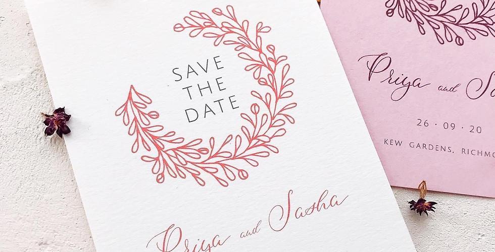 Semi custom wedding stationery - Save the date