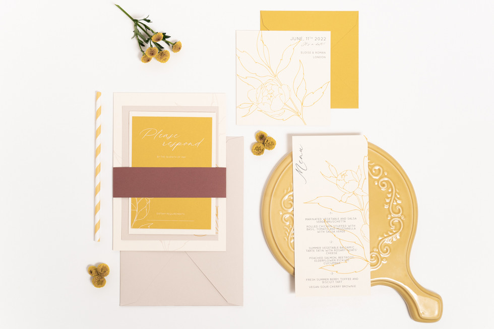 Wedding stationery suite with floral illustrations and calligraphy for the modern romantic couple in yellow and blush paper