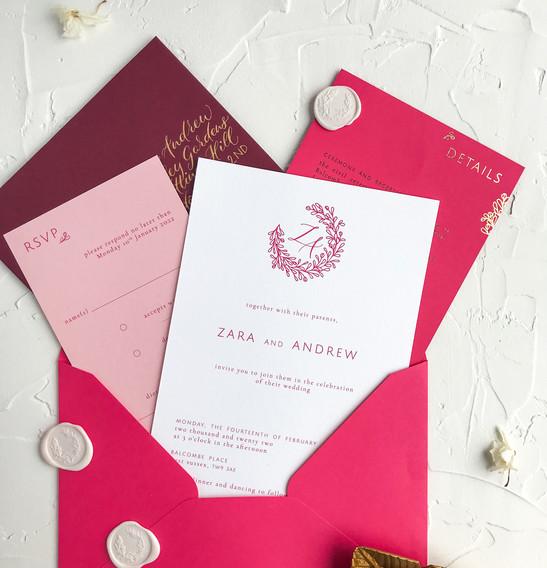 Invitation suite in wedding envelope