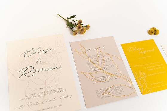 Wedding stationery suite with peony illustration details on blush and yellow cards and with calligraphy throughout-27.jpg
