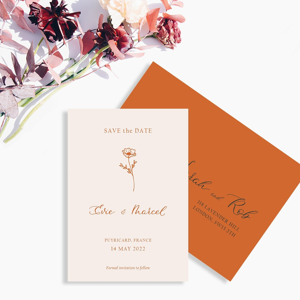 Save the Date card for a modern and botanical wedding in France.