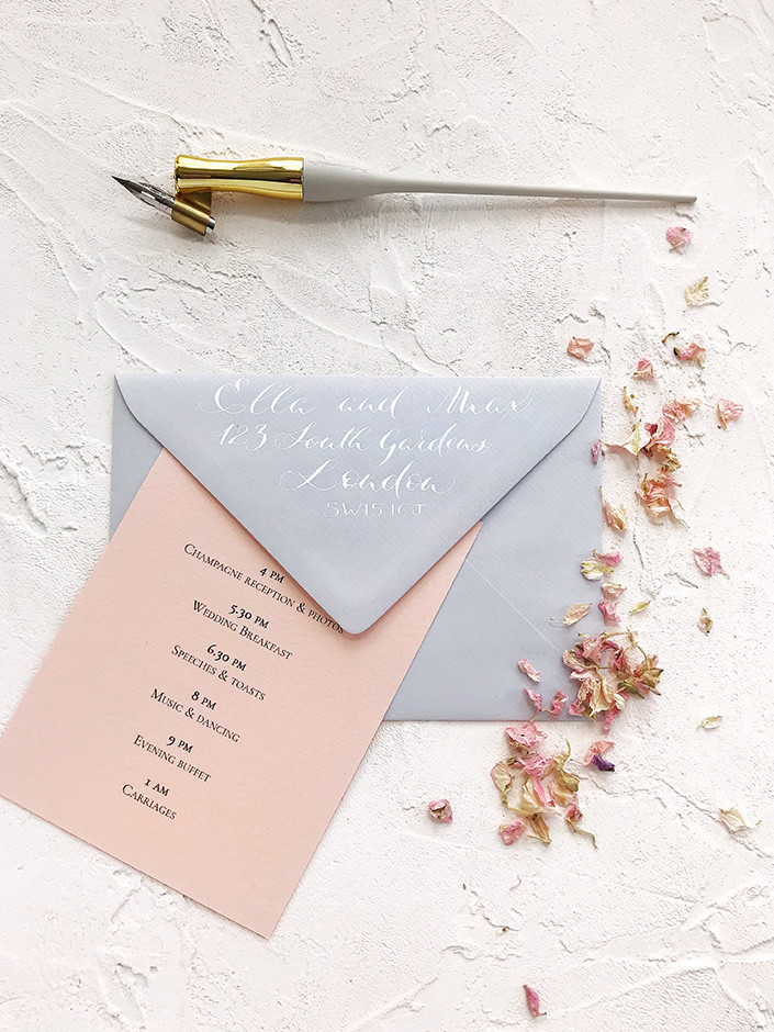 Wedding invitation with calligraphy envelope