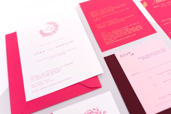 Wedding invitation suite in a pink palette with gold foil printing