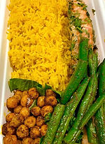 Salmon fillet with saffron rice take away meals CarmEli Old Fashion Cookig Catering