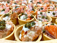 It's not pink it's salmon canapé caterin