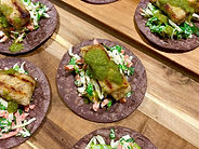 Grilled fish tostadas canapé catering in