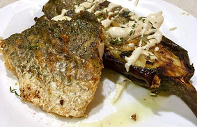 Mediterranean grilled barramundi take away meals CarmEli Old Fashion Cookig Catering