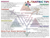 Tantric Tipi Event Schedule