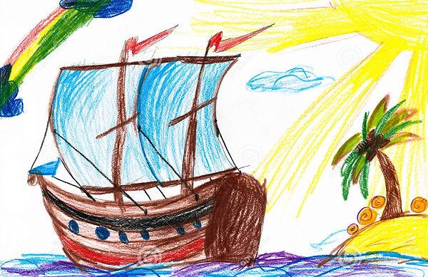 zeilboot-en-eiland-de-tekening-van-child