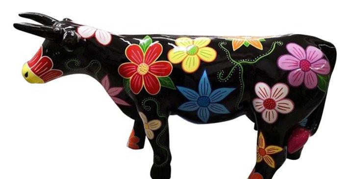 Animaux en résine Suisse - Vache fleurs