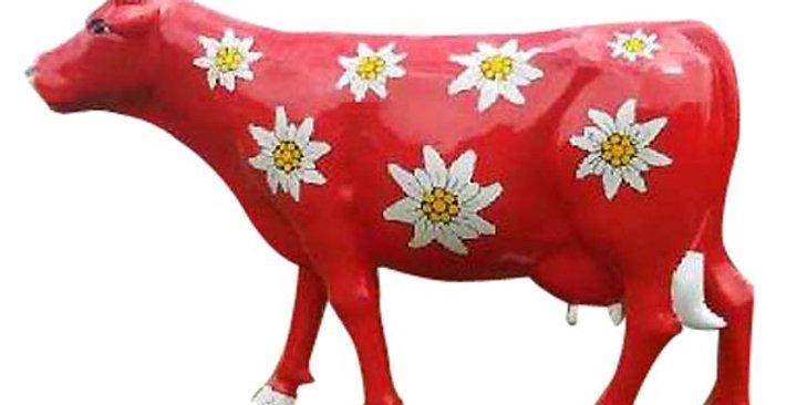 Animaux en résine Suisse - vache Edelweiss
