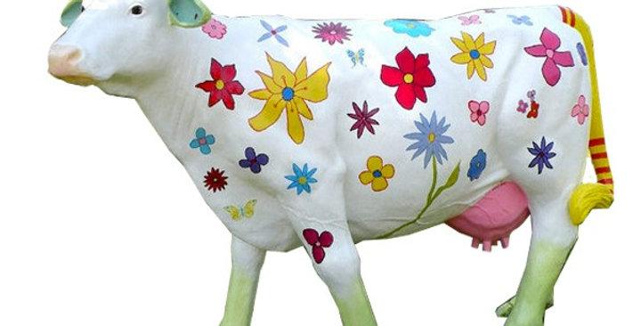 Animaux en résine Suisse - Vache blanche à fleurs
