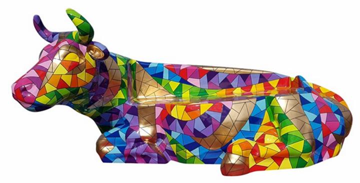 Animaux en résine Suisse - Vache banc mosaïque