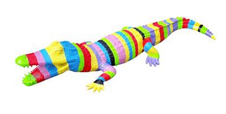 Animaux en résine Suisse -Crocodile multicolore