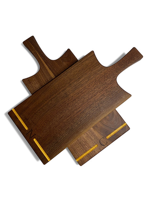 WALNUT AND GOLD SERVING BOARD - CUSTOM MADE