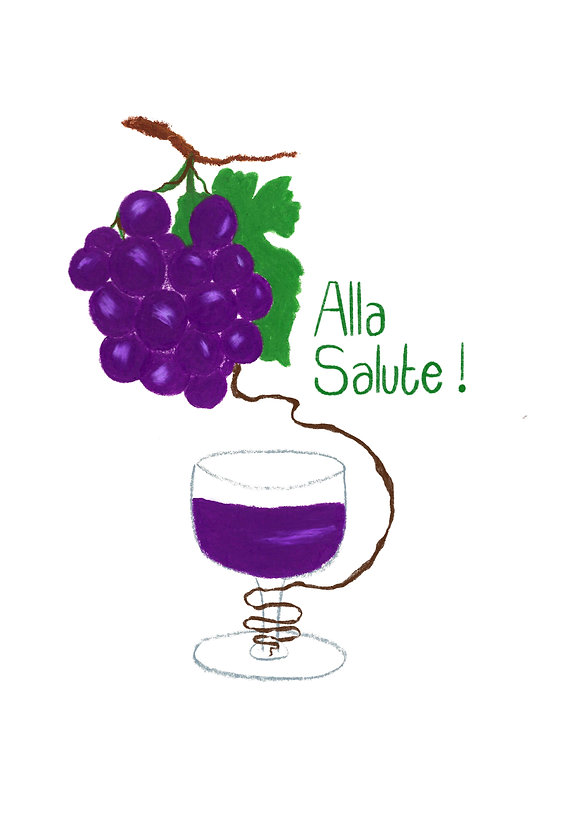 Drawing of a glass of Italian red wine a