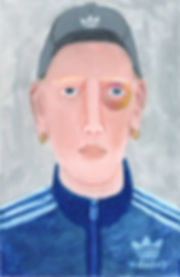 """Oil pastel portrait inspired by British Youth Culture. """"Kevin in Adidas"""" works on paper 21 x 14.8cm"""