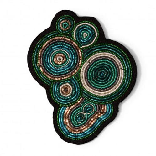 Broche MALACHITE MaconLesquoy 4,2x5,4cm