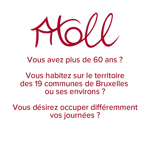 Atoll est une asbl qui propose un service d'accueil de jour pour senior, qui ont plus de 60 ans, qui Bruxelles ou ses environs, et que désireux d' occuper différemment ses journées.