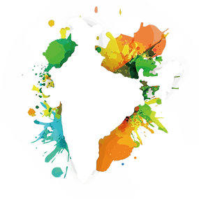 Transparent map of India with just outline