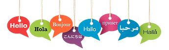 """""""Hello"""" written in various languages on callout shaped placards hanging from ropes"""
