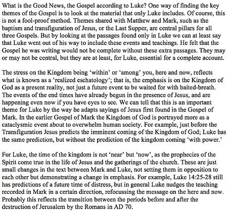 The Kingdom of God in Luke (Nicholas Alan Worssam)