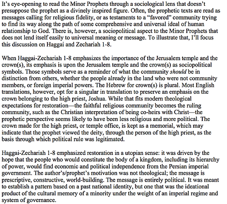 Reading Haggai-Zechariah as a Political Text (Jeremiah W. Cataldo)