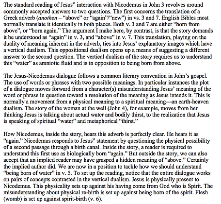 Again, Above, and Baptism in the Nicodemus Dialogue (Thomas W. Martin)
