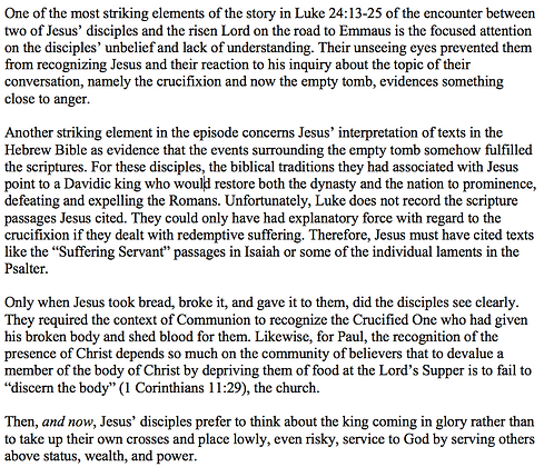 Reflections on Emmaus (Mark E. Biddle)