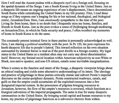 A Diasporic Reading of the Ascent Psalms (Hyun Woo Kim)