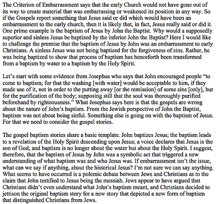 Were Early Christians Embarrassed by the Baptism of Jesus? (Gary Greenberg)