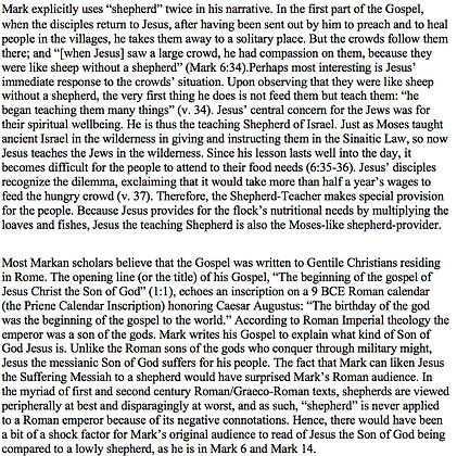 Jesus the Teaching Shepherd in the Gospel of Mark (Wayne Baxter)