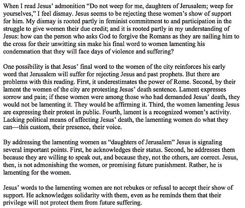 Jesus Responds to the Lamenting Women in Luke 23:26-31 (Victoria Phillips)