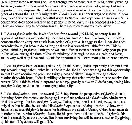 A Samoan Reading of Judas's Betrayal of Jesus (Vaitusi Nofoaiga)